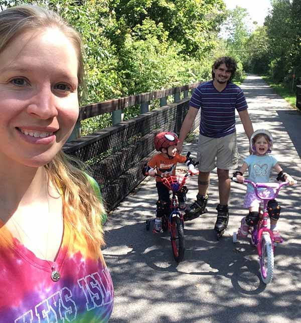 Happy Family: Dr Emily Thomas, with her husband and children