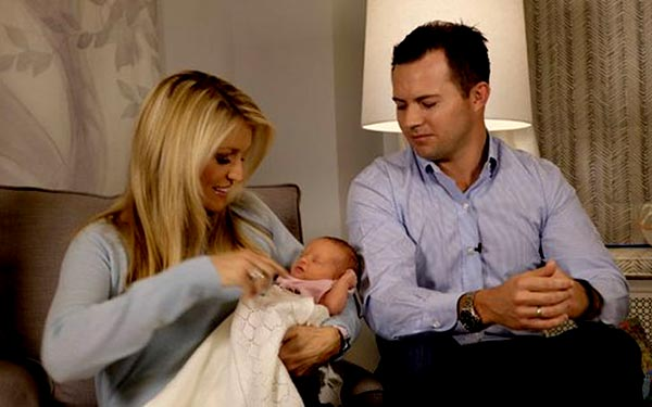 Image of Footballer, Will Proctor with his wife Ainsley Earhardt and their baby Hayden Dubose Proctor