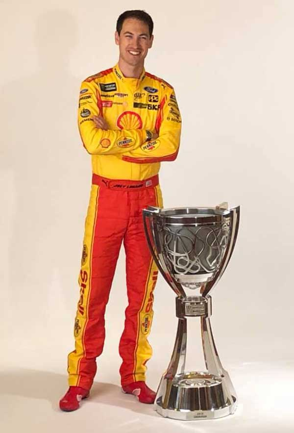 Image of Joey Logano's height is 6 feet 1 inch