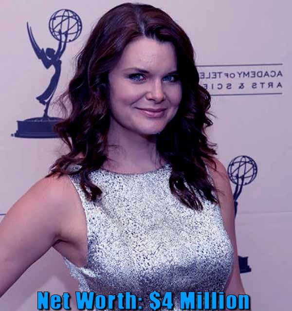 Image of American actress, Heather Marie Tom net worth is $4 million
