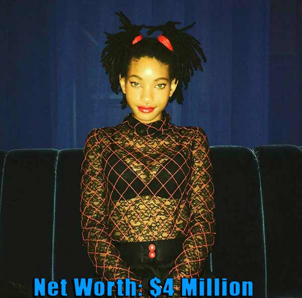 Image of American singer, Willow Smith net worth is $4 million