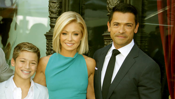 Image of Joaquin Antonio Consuelos with his parents father (Mark Consuelos ) and mother (Kelly Ripa)