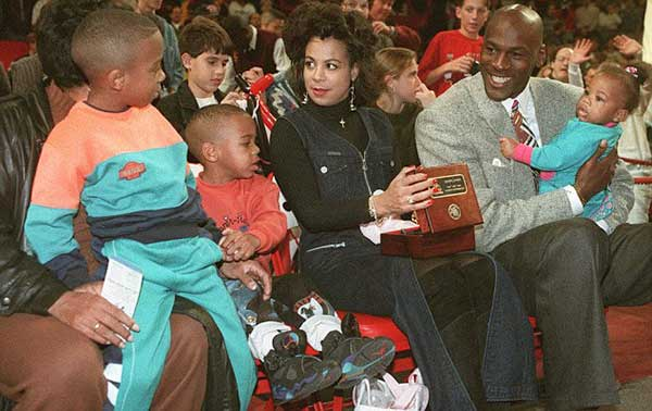 Image of Michael Jordan ex-wife Joanita Vanoy and with their twins son Jeffrey Michael, and Marcus James and a daughter Jasmine