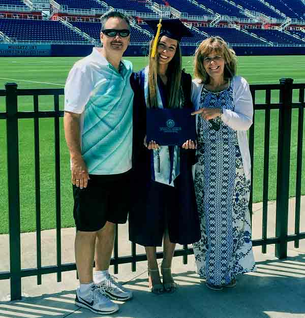 Image of Nicky Gile with her parents mother Christina and father Tom