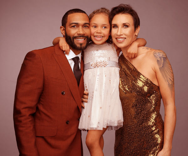 Image of Omari Hardwick wife Jennifer Pfautch and daughter, Nova