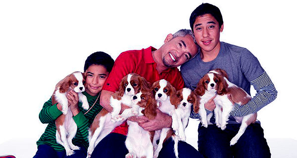 Image of Ceaser Millan with his kids Andre and Calvin from ex wife Illuson Millan