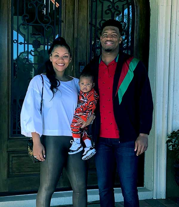 Image of Jamies Winston with his girlfriend Breion Allen and with their son Antonor