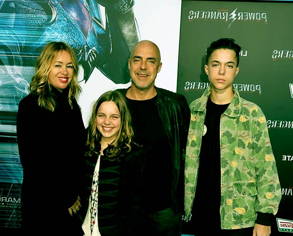 Image of Jose Stemken with her husband Titus Welliver and with kids Quinn Welliver (son) and Cora McBride Walling Welliver (daughter)