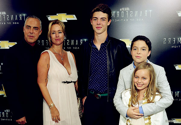 Image of Titus Welliver with his wife Jose Stemkens and with their kids Cora McBride Walling Welliver (daughter), Eamonn Lorcan Charles Welliver (son), Quinn Welliver (son)