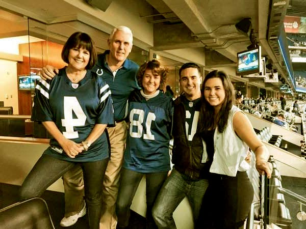Image of Karen Pence with her husband Mike Pence and with their kids Charlotte Pence (daughter), Audrey Pence (daughter) and Michael Pence (son)