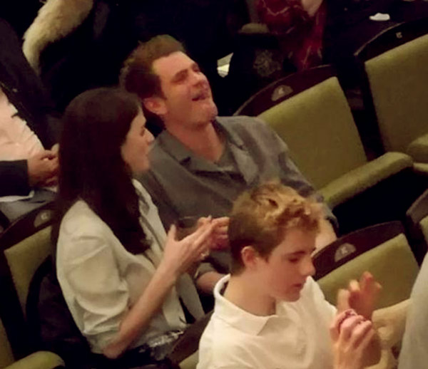 Image of Aisling Bea and Andrew Garfield were watching Hamilton in London