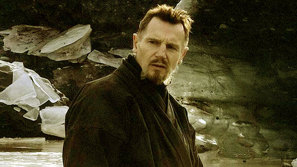 Image of Liam Leeson is portraying Ra al Ghul in the movie, Batman Begins(2005).