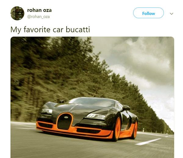 Image of Businessman, Rohan Oza luxurious car Bugatti