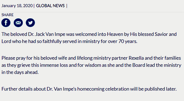 Image of Caption: Statement from JVIM regarding Dr. Jack Van Impe's death