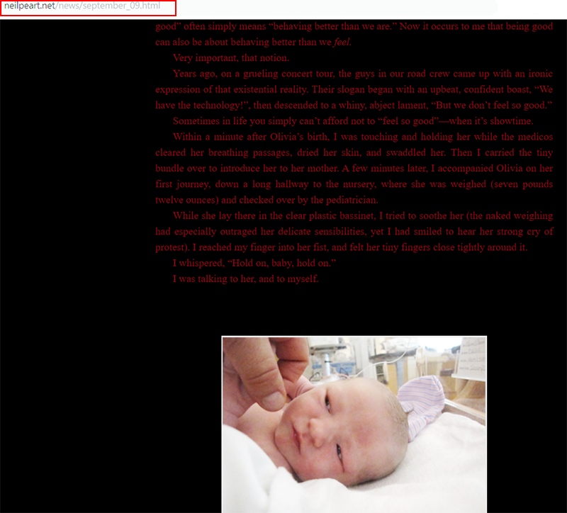 Neil Peart post on his official site that his daughter Olivia is due