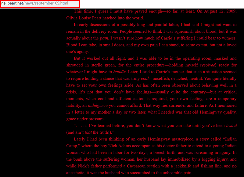 Neil Peart post on his official website after his daughter birth in 2009