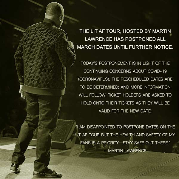 Image of Caption: Martin Lawrence postpones tour for March due to Coronavirus
