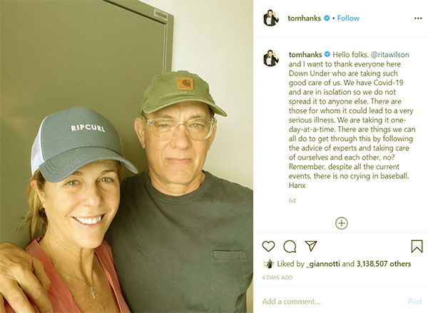 Image of Caption: Tom Hanks and his wife Rita Wilson also came down with the Corona Virus